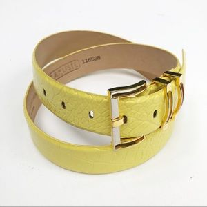 Carlisle Yellow & Gold Croc Embossed Fashion Belt